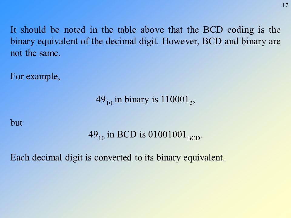 It should be noted in the table above that the BCD coding is the binary equivalent of the decimal digit. However, BCD and binary are not the same.