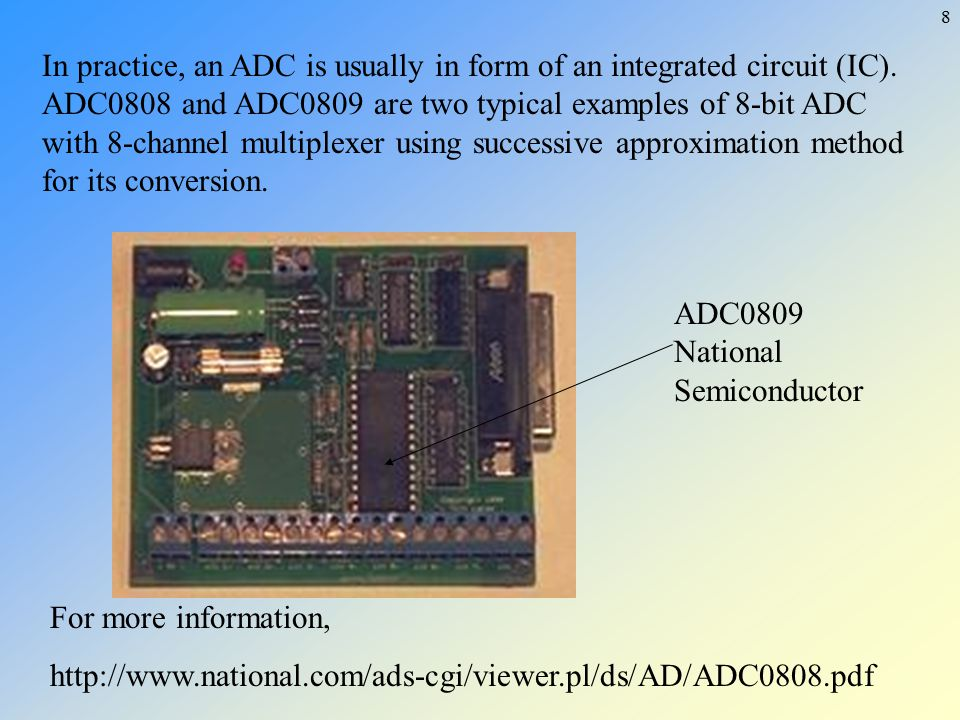 In practice, an ADC is usually in form of an integrated circuit (IC)