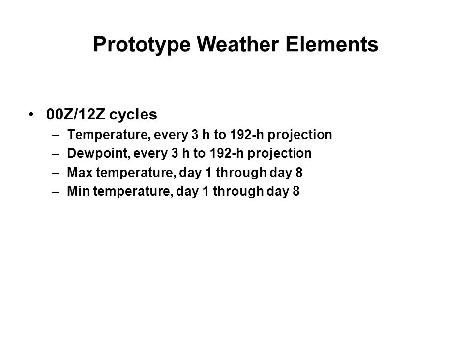 Prototype Weather Elements