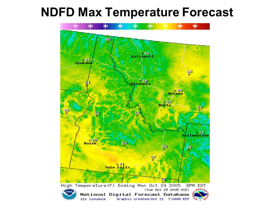 NDFD Max Temperature Forecast