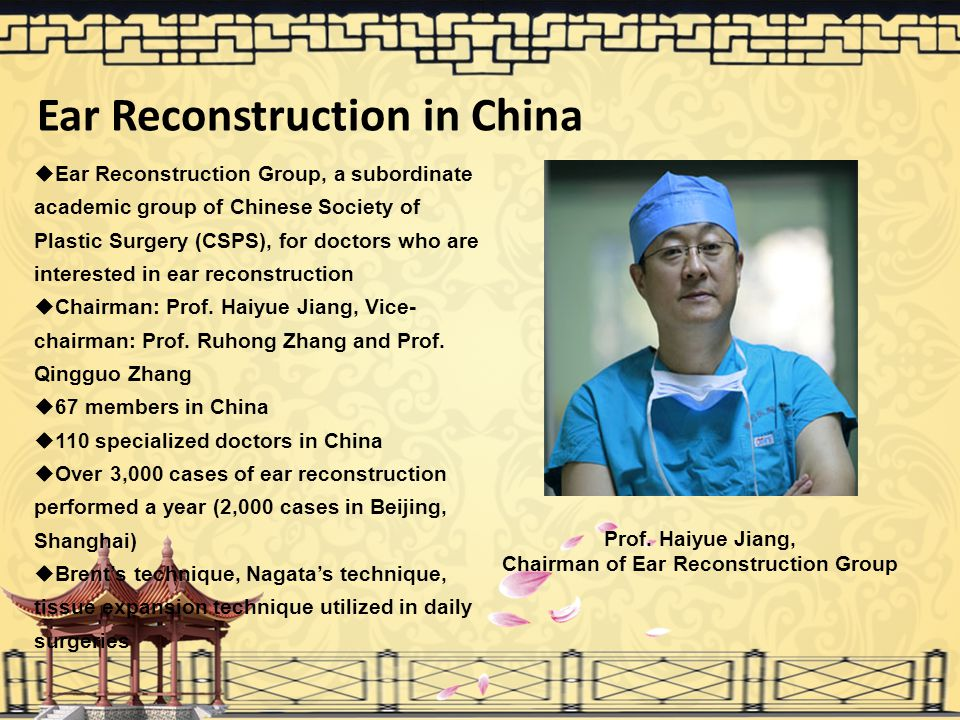 Ear Reconstruction in China Chairman of Ear Reconstruction Group