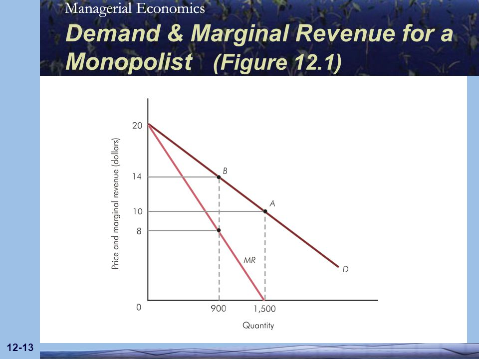 Demand & Marginal Revenue for a Monopolist (Figure 12.1)