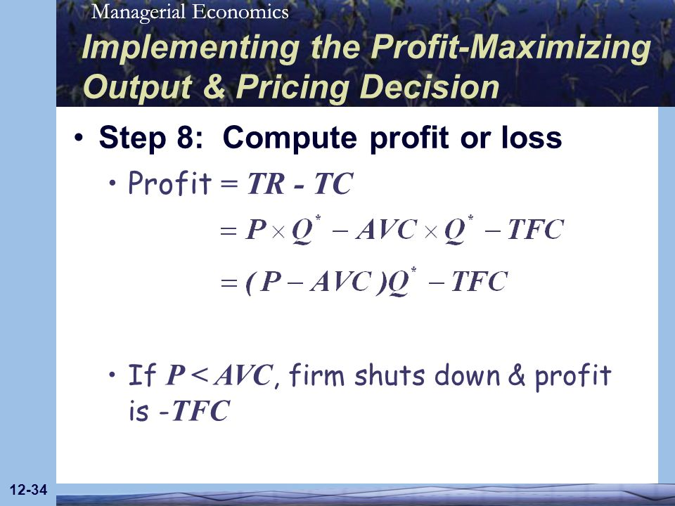 Implementing the Profit-Maximizing Output & Pricing Decision