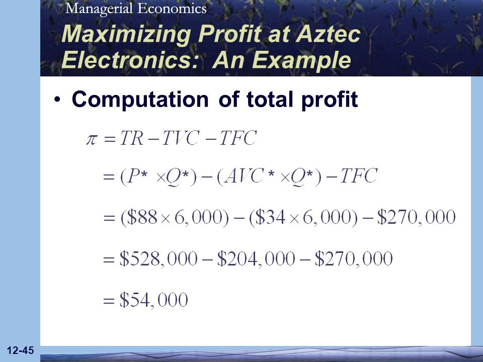 Maximizing Profit at Aztec Electronics: An Example