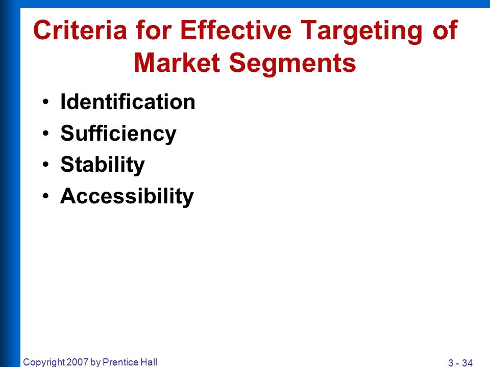 Criteria for Effective Targeting of Market Segments