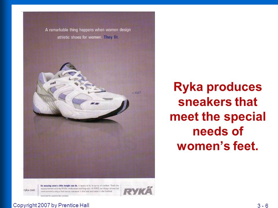 Ryka produces sneakers that meet the special needs of women's feet.