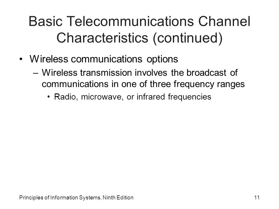 Basic Telecommunications Channel Characteristics (continued)