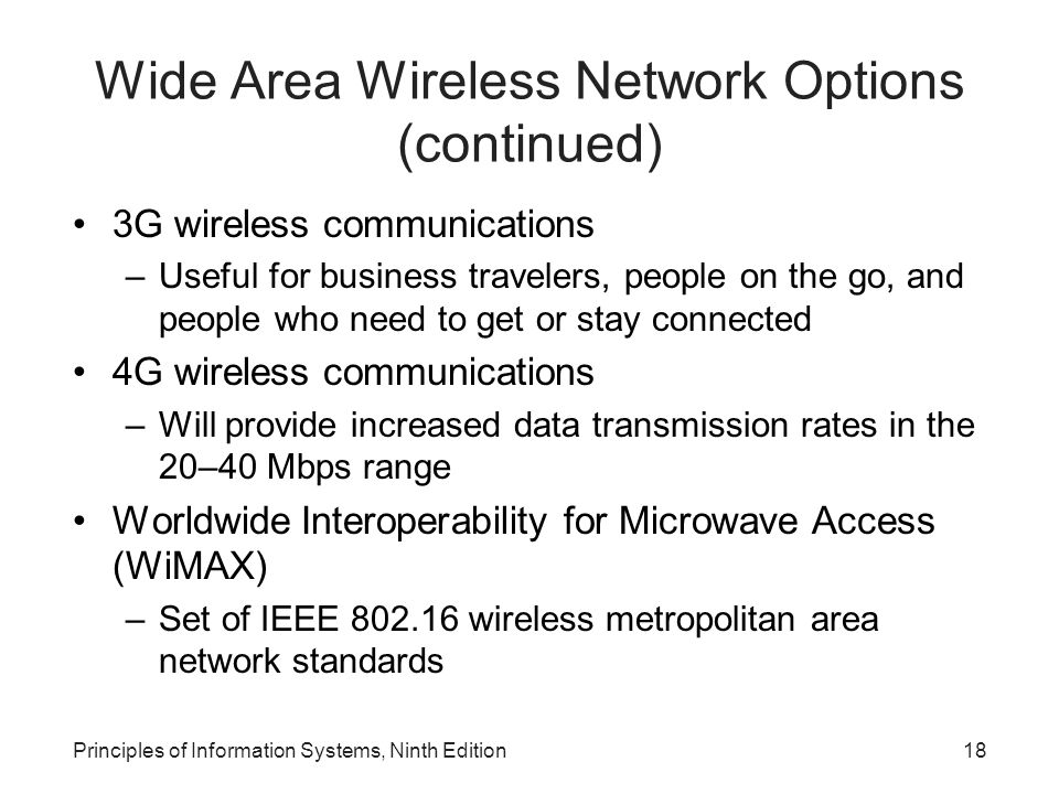 Wide Area Wireless Network Options (continued)