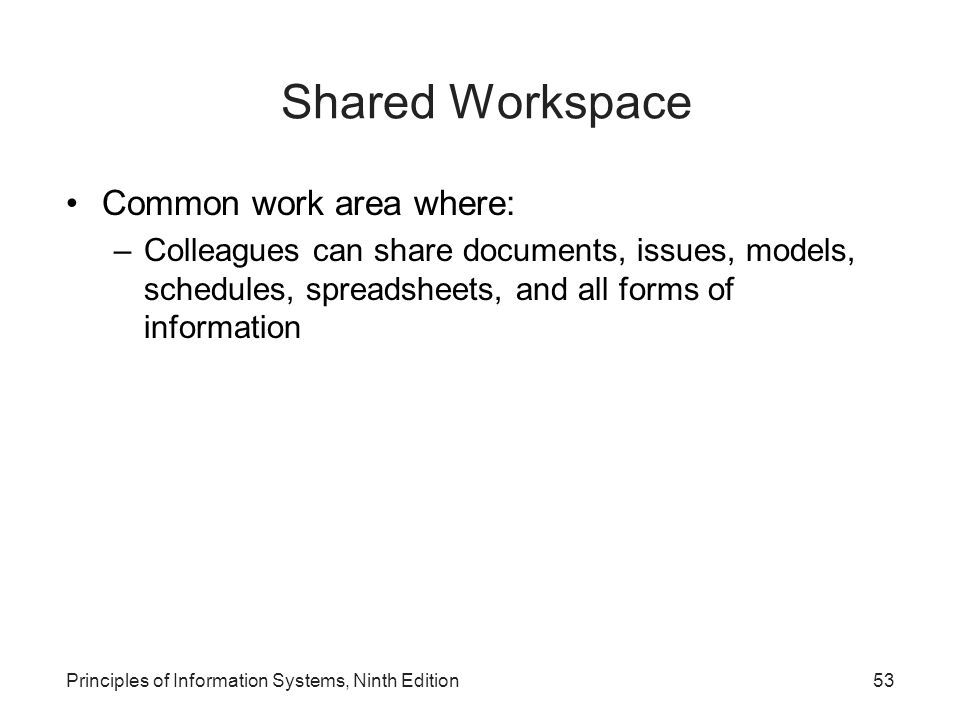 Shared Workspace Common work area where: