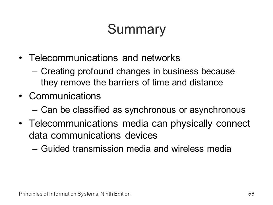 Summary Telecommunications and networks Communications