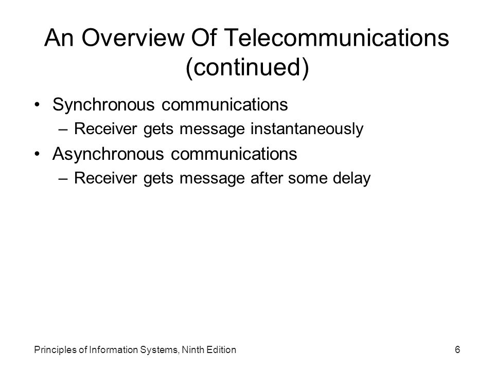 An Overview Of Telecommunications (continued)