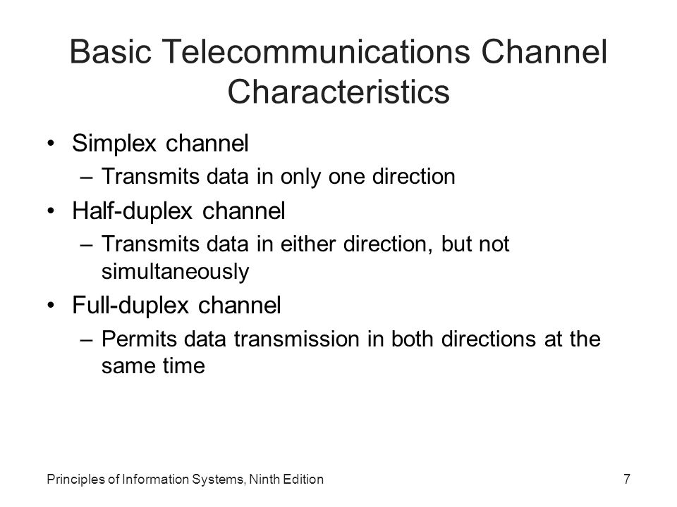 Basic Telecommunications Channel Characteristics