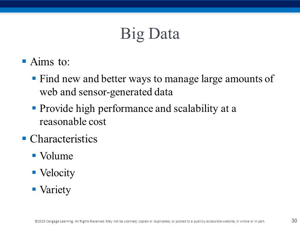 Big Data Aims to: Characteristics