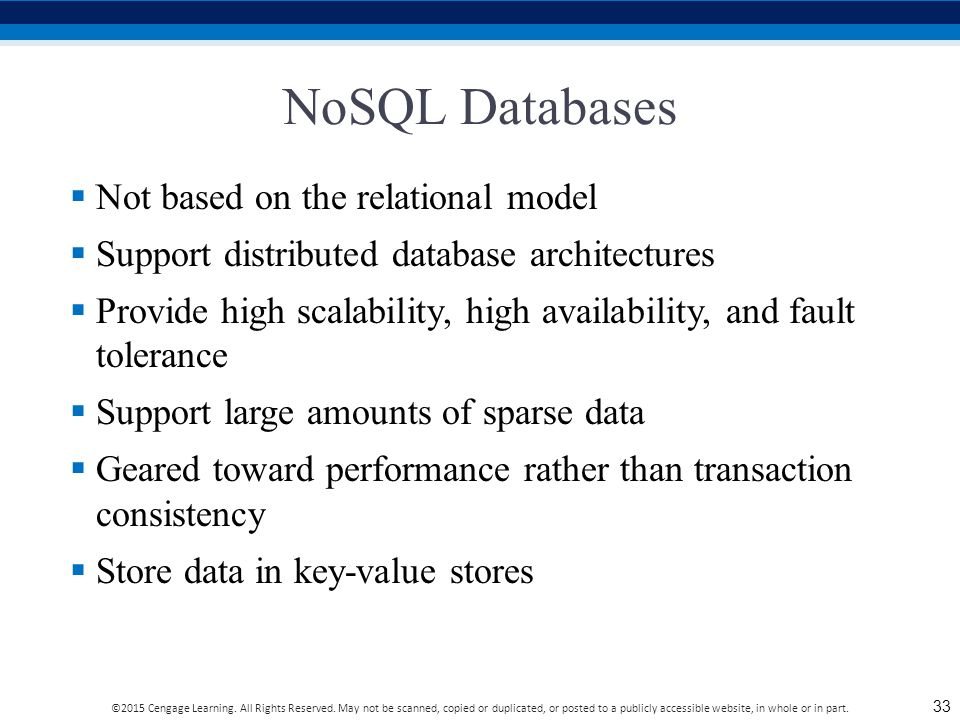 NoSQL Databases Not based on the relational model