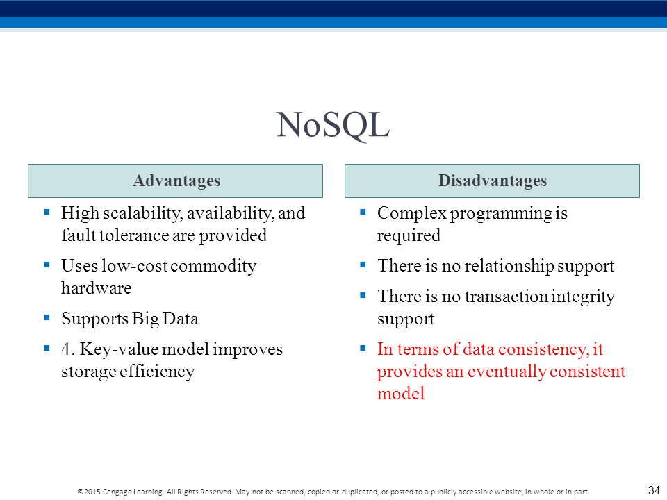 NoSQL High scalability, availability, and fault tolerance are provided