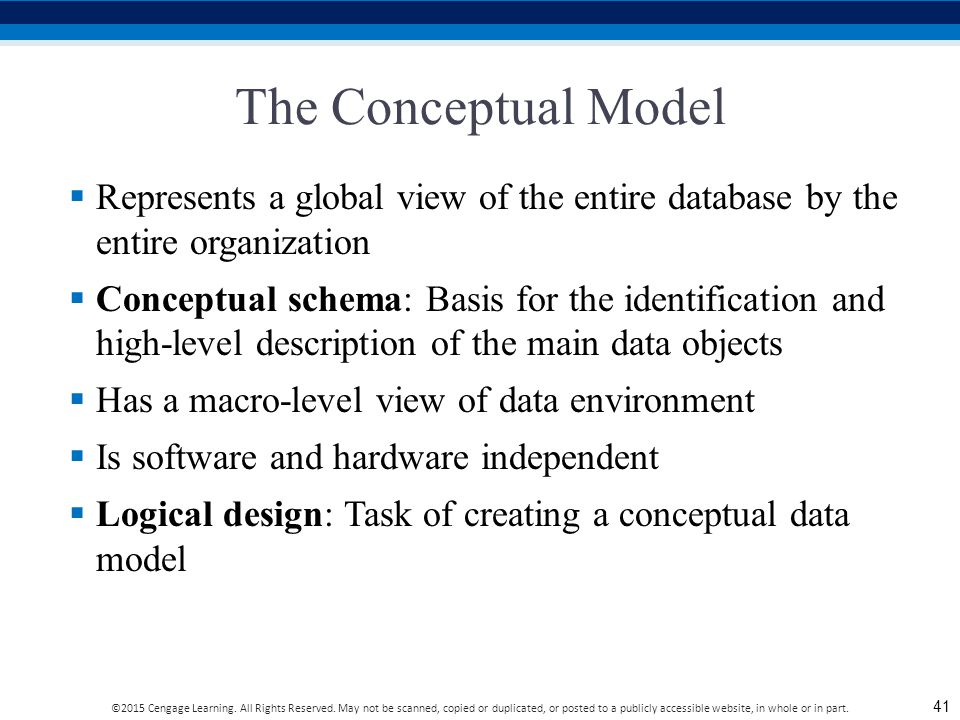 The Conceptual Model Represents a global view of the entire database by the entire organization.
