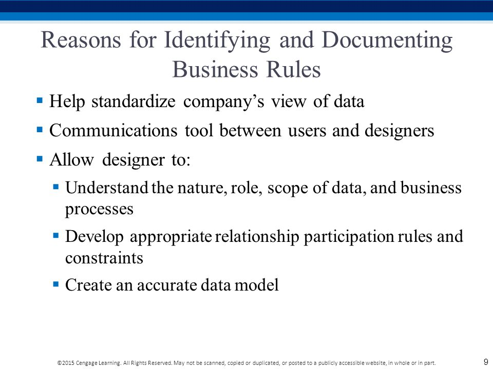 Reasons for Identifying and Documenting Business Rules