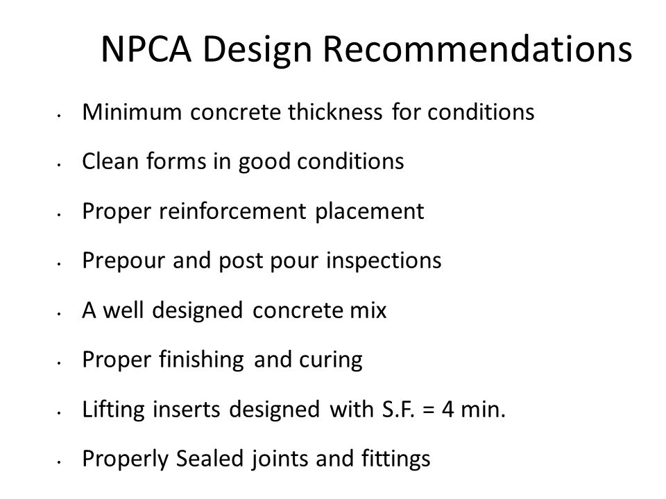 NPCA Design Recommendations
