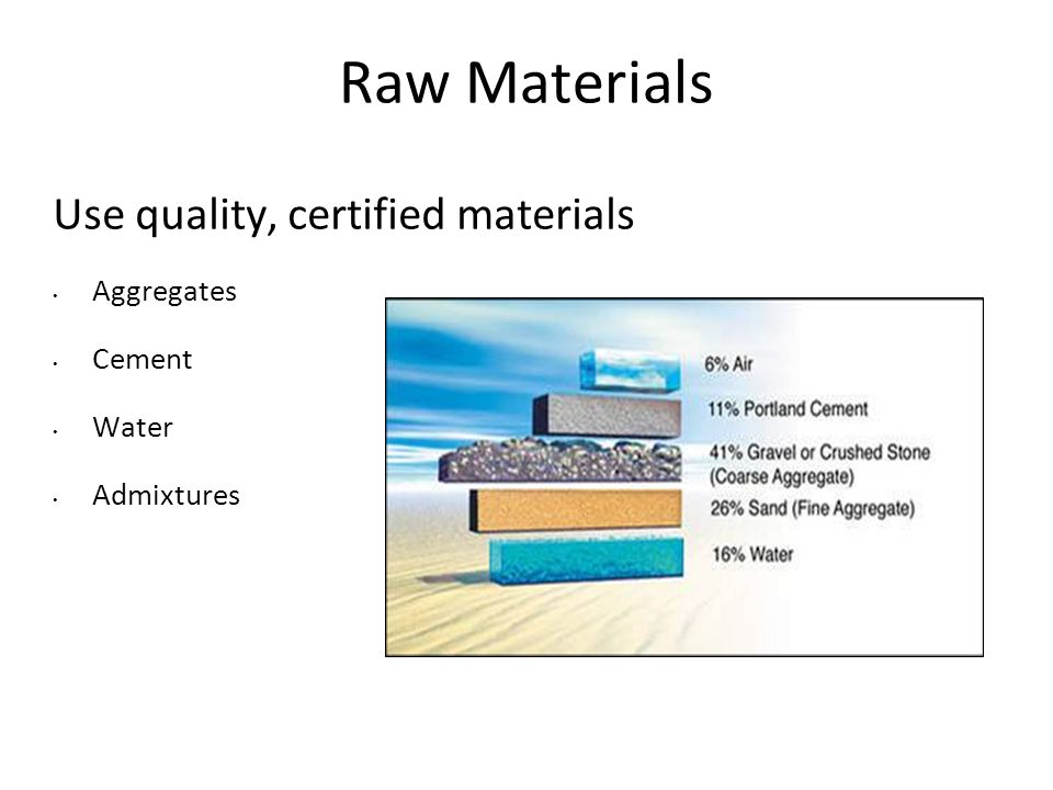 Raw Materials Use quality, certified materials Aggregates Cement Water