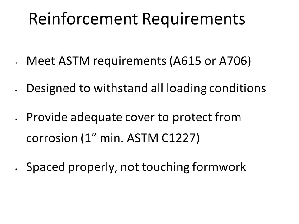 Reinforcement Requirements