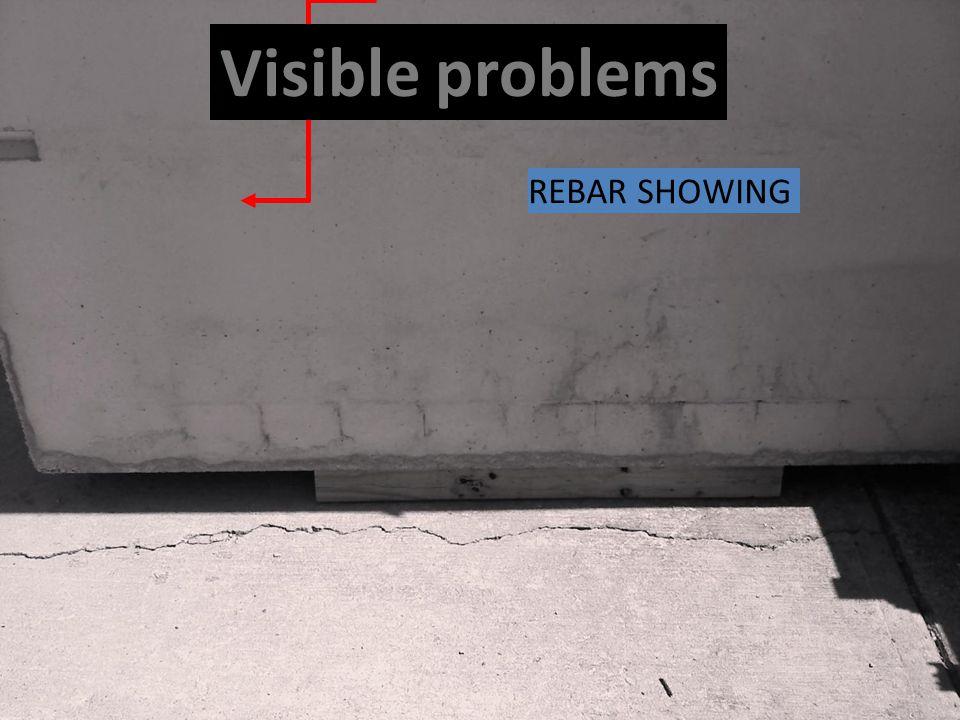 Visible problems REBAR SHOWING