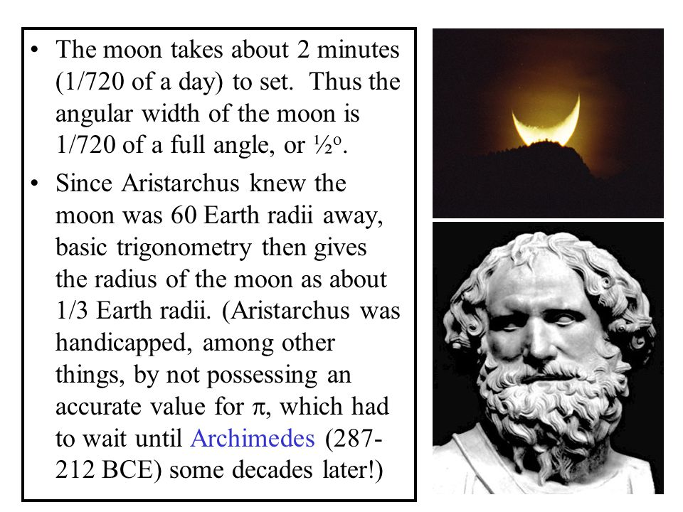 The moon takes about 2 minutes (1/720 of a day) to set