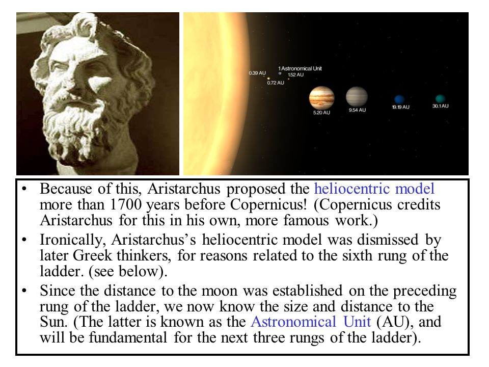 Because of this, Aristarchus proposed the heliocentric model more than 1700 years before Copernicus! (Copernicus credits Aristarchus for this in his own, more famous work.)