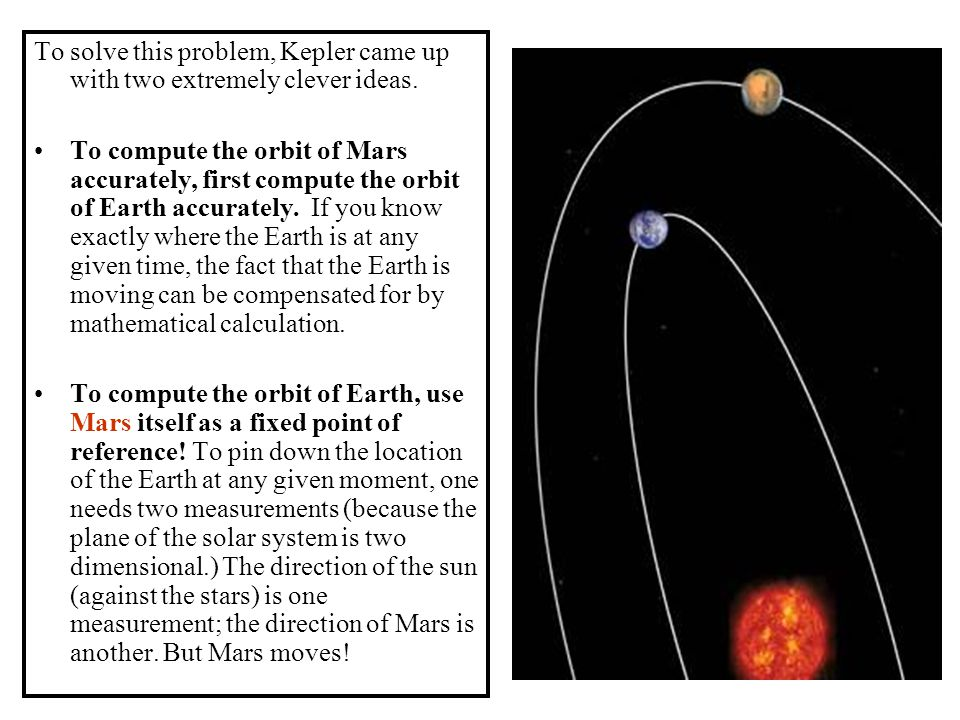 To solve this problem, Kepler came up with two extremely clever ideas.