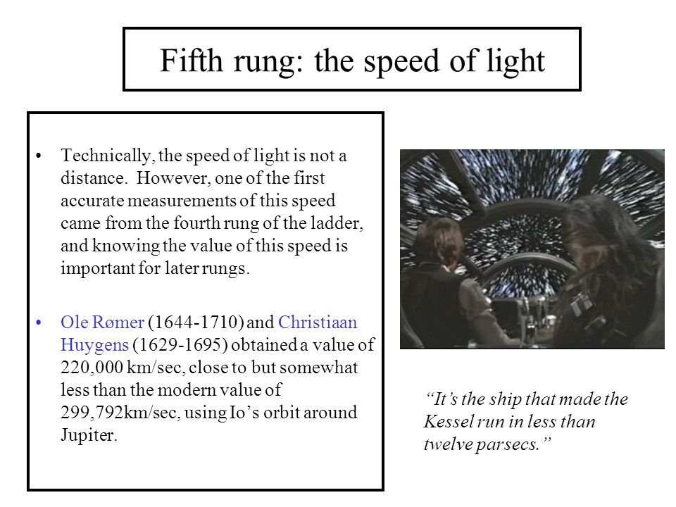Fifth rung: the speed of light