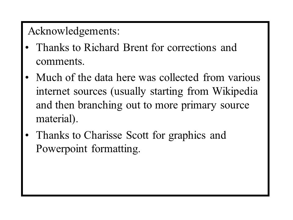Acknowledgements: Thanks to Richard Brent for corrections and comments.