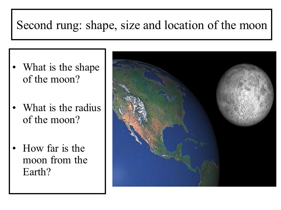 Second rung: shape, size and location of the moon