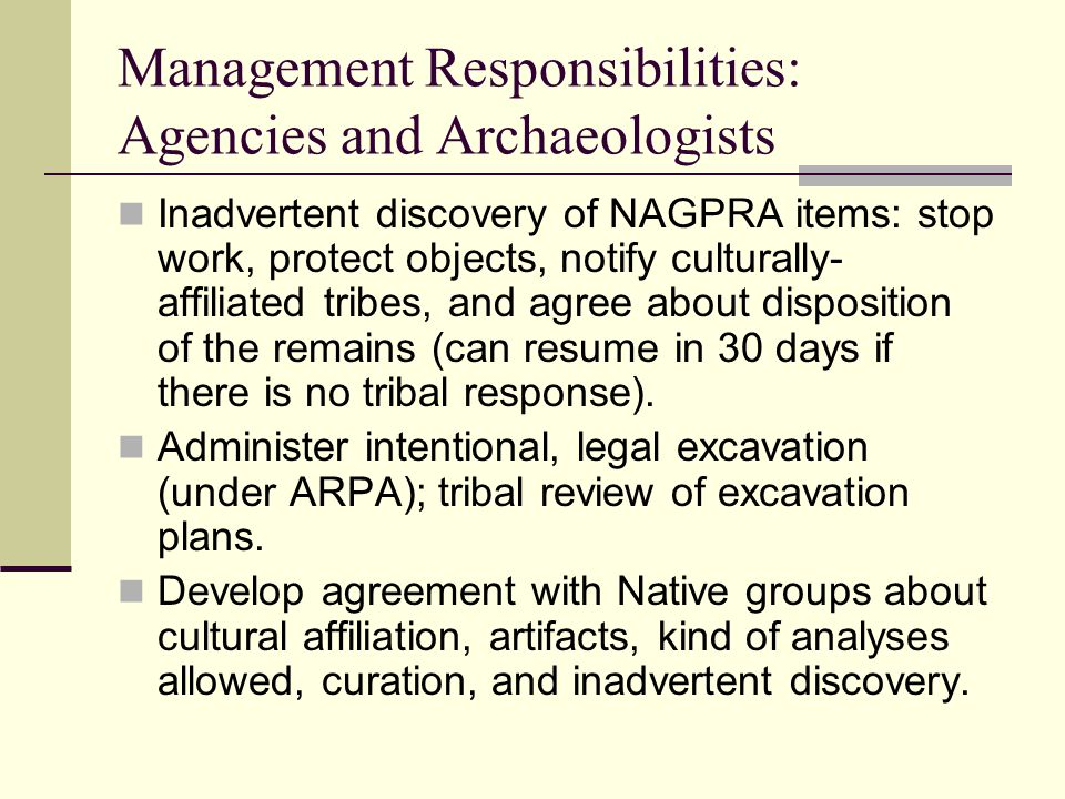 Management Responsibilities: Agencies and Archaeologists