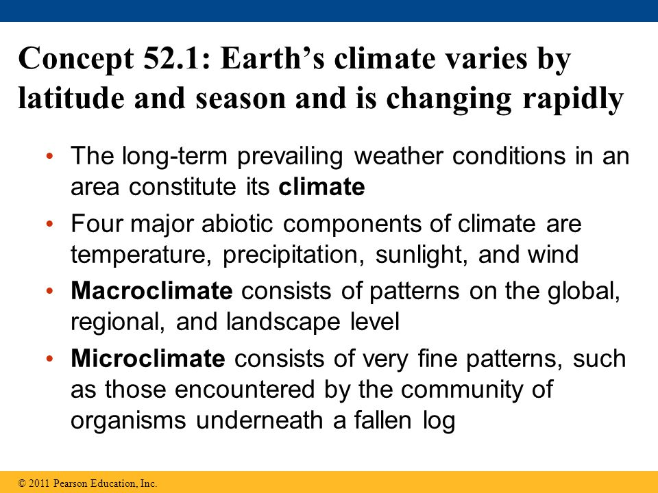 Concept 52.1: Earth's climate varies by latitude and season and is changing rapidly