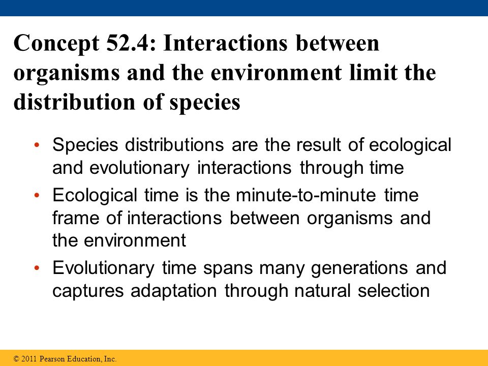 Concept 52.4: Interactions between organisms and the environment limit the distribution of species