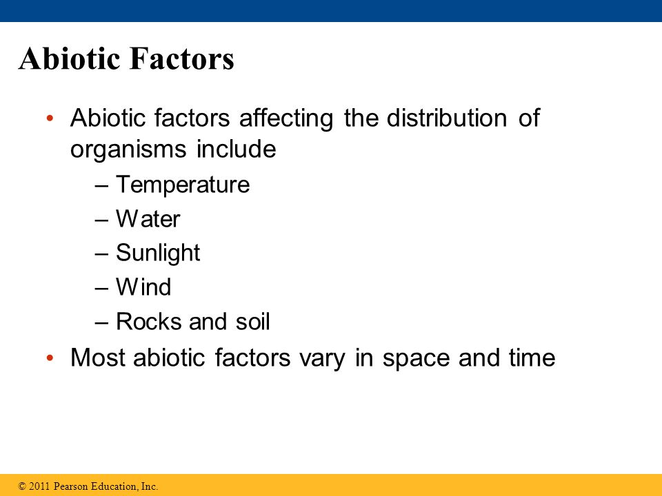 Abiotic Factors Abiotic factors affecting the distribution of organisms include. Temperature. Water.