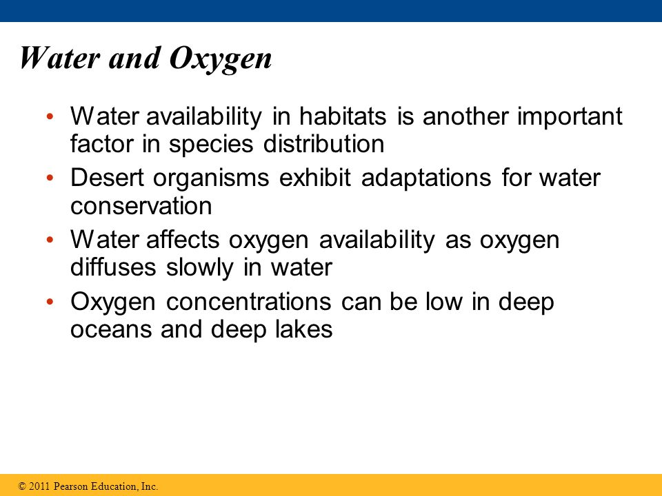 Water and Oxygen Water availability in habitats is another important factor in species distribution.