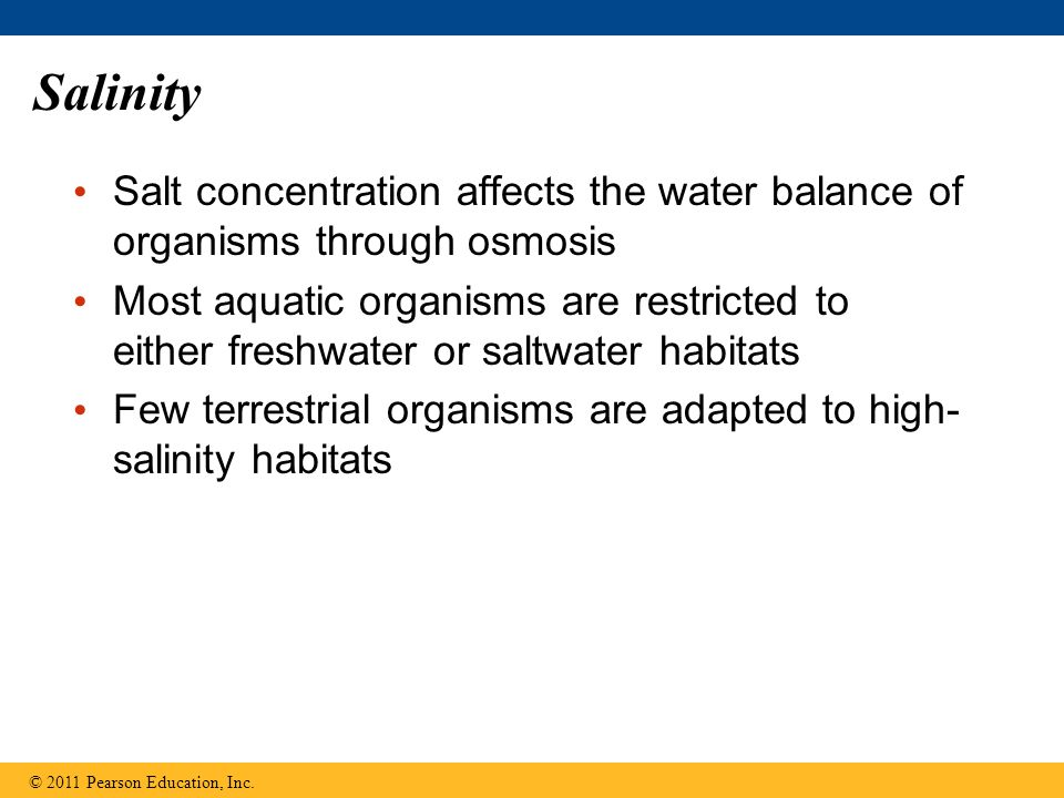 Salinity Salt concentration affects the water balance of organisms through osmosis.