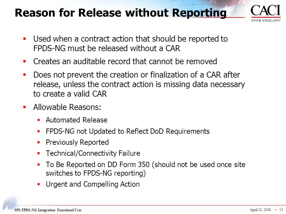 Reason for Release without Reporting