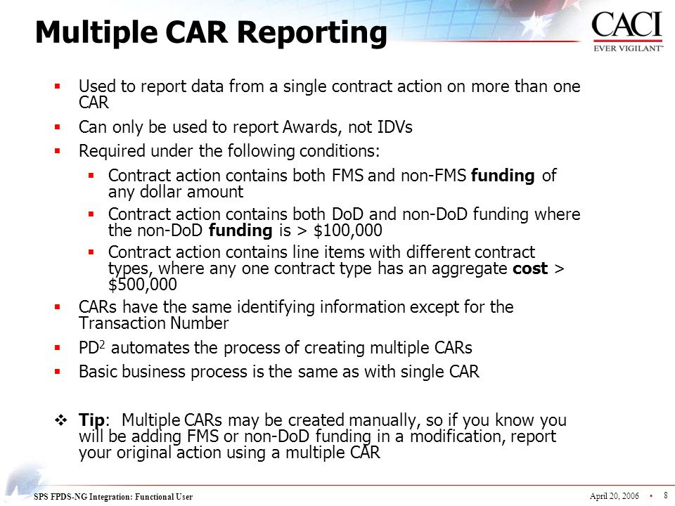 Multiple CAR Reporting