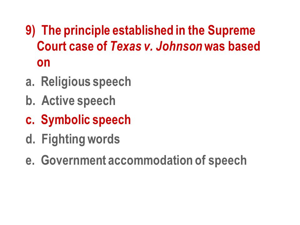 9) The principle established in the Supreme Court case of Texas v