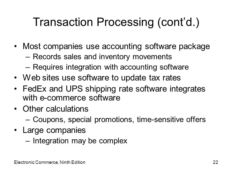 Transaction Processing (cont'd.)