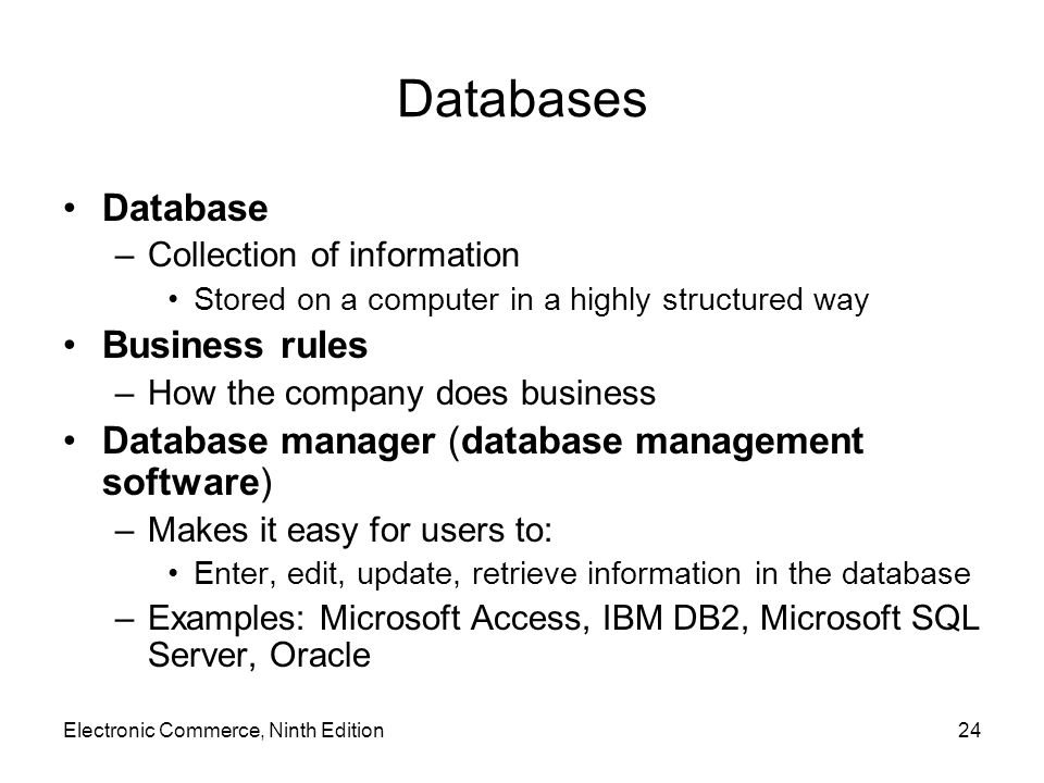 Databases Database Business rules