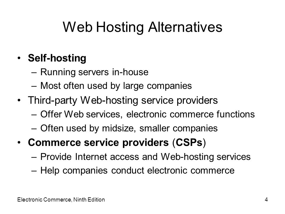 Web Hosting Alternatives