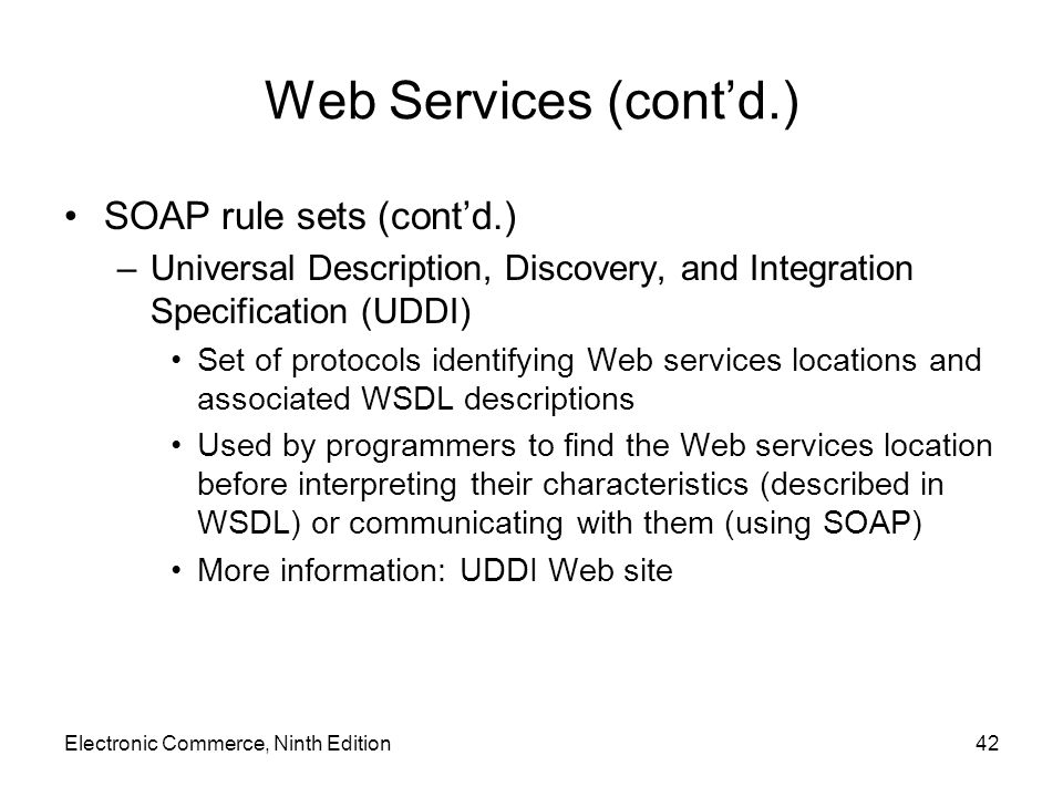 Web Services (cont'd.) SOAP rule sets (cont'd.)