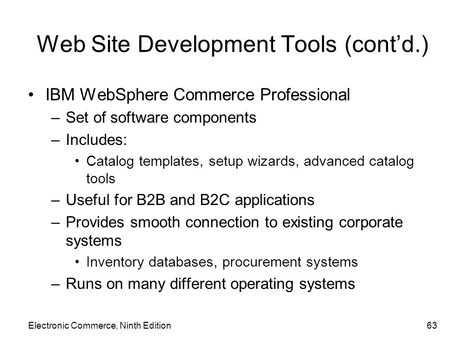 Web Site Development Tools (cont'd.)