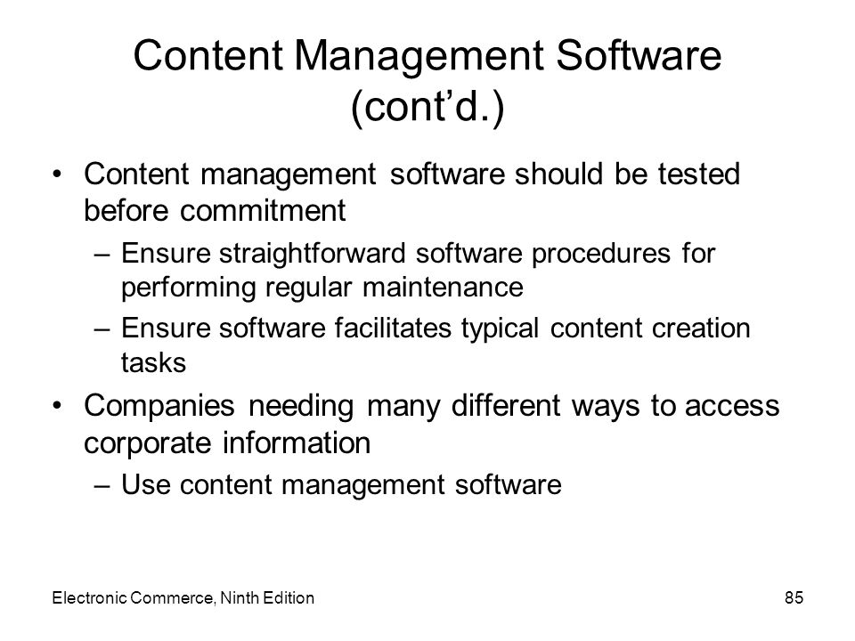 Content Management Software (cont'd.)