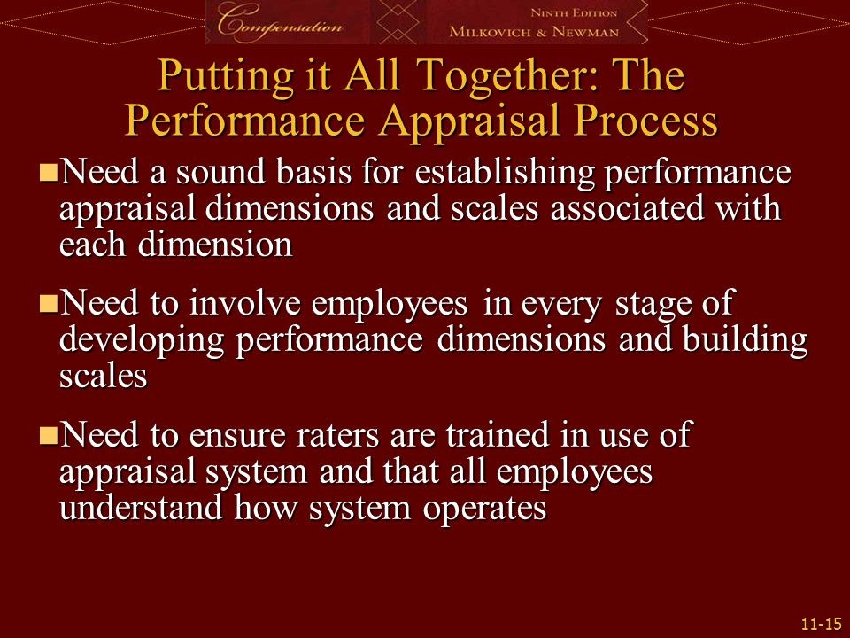 Putting it All Together: The Performance Appraisal Process