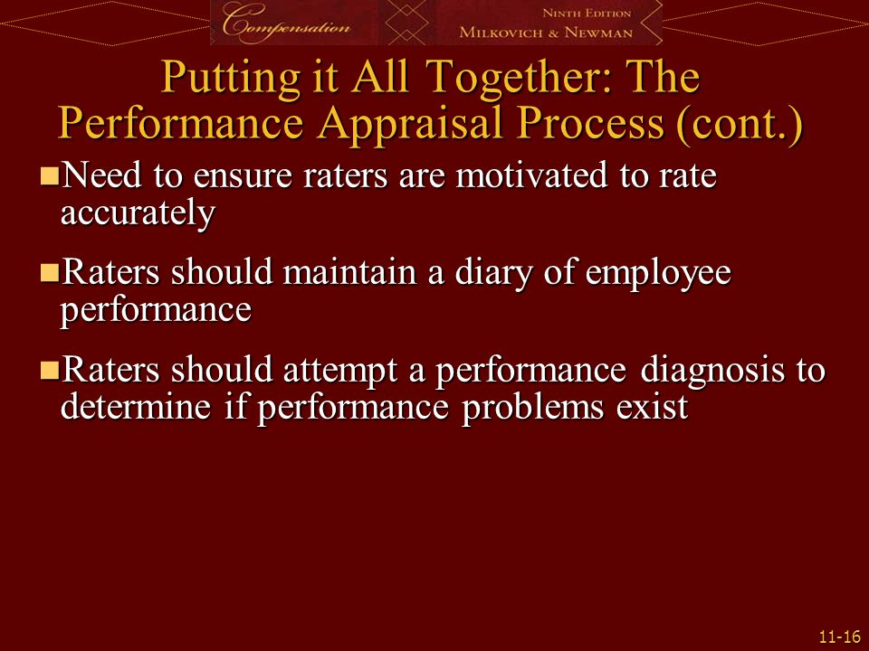 Putting it All Together: The Performance Appraisal Process (cont.)