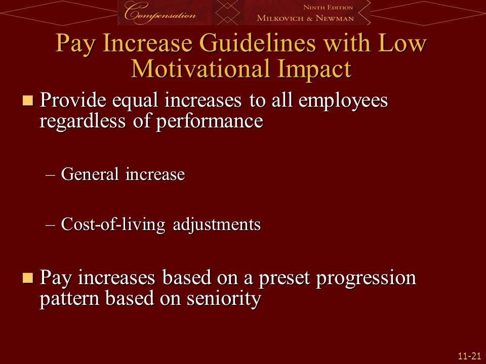 Pay Increase Guidelines with Low Motivational Impact