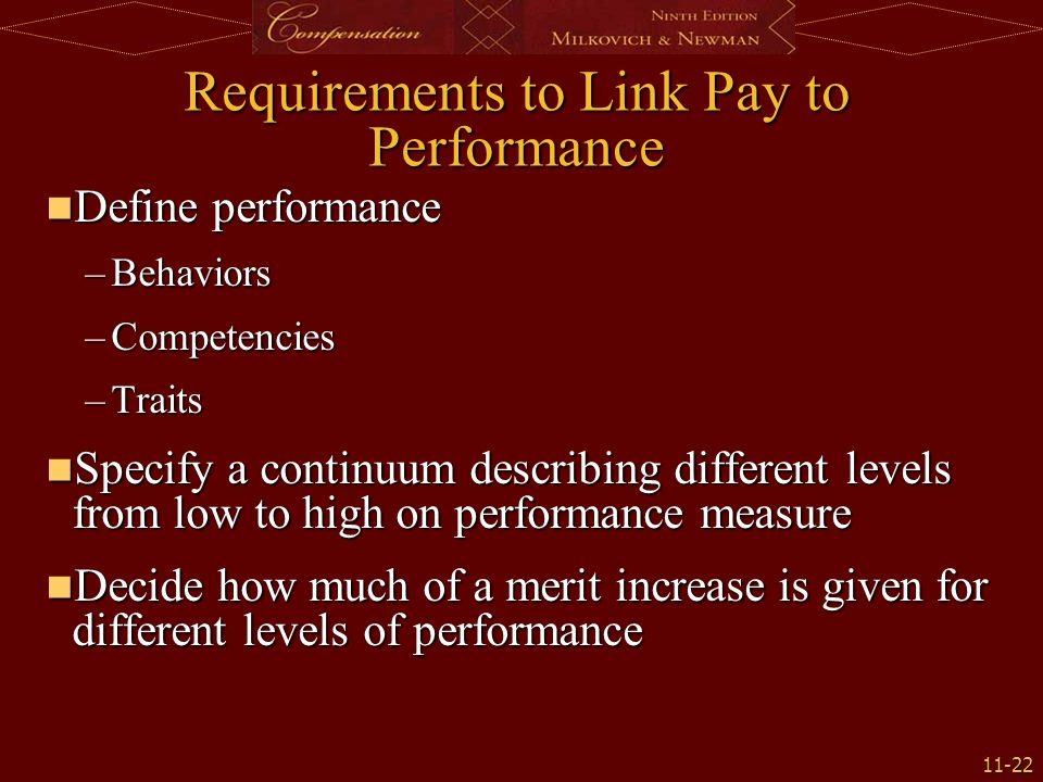 Requirements to Link Pay to Performance
